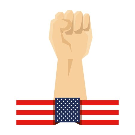 hand human fist and usa flag vector illustration design