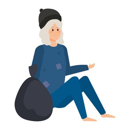 homeless woman with bag character vector illustration design