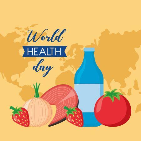 water bottle tomato onion fish world health day vector illustration Ilustracja