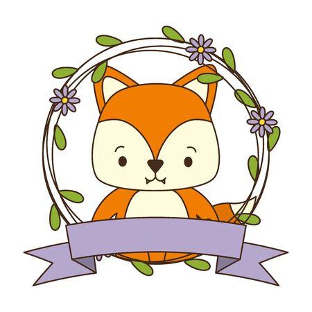 cute fox cartoon sticker flowers vector illustration design Reklamní fotografie - 129376849