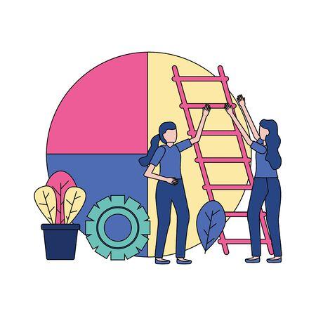 businesswomen report chart stairs gear vector illustration Illustration