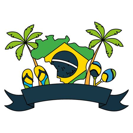 map flag maracas sandals palms brazil carnival festival vector illustration