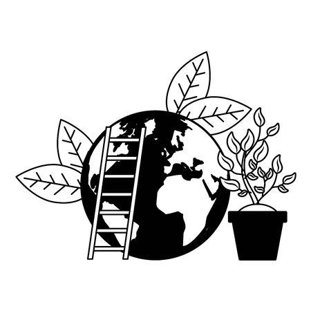 world plant and stairs earth day vector illustration