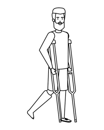 man in crutches character vector illustration design Foto de archivo - 129377208