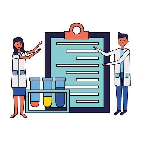 medical people staff clipboard and chemical flasks vector illustration vector illustration