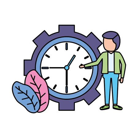 businessman clock time work design vector illustration vector illustration Çizim