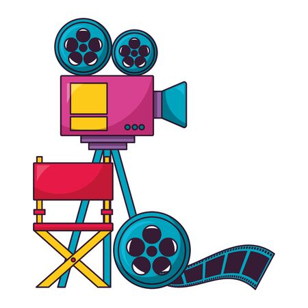 projector reel strip chair film cinema design vector illustration Stok Fotoğraf - 129377258
