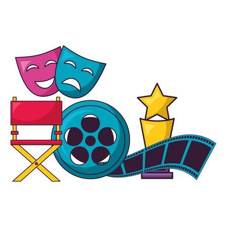chair award theater masks reel film cinema design vector illustration  イラスト・ベクター素材