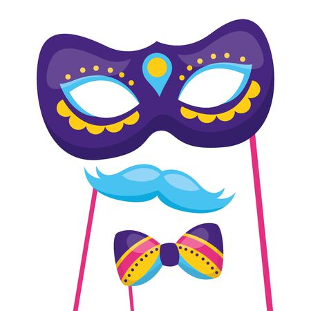 carnival mask mustache bowtie festive vector illustration  イラスト・ベクター素材