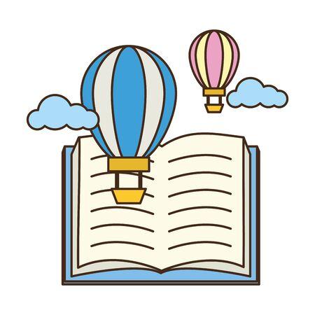 open textbook hot air balloon - world book day vector illustration