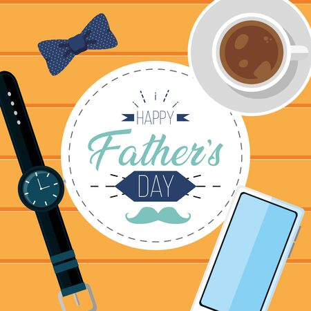 coffee watch mobile wooden background happy fathers day vector illustration Ilustração