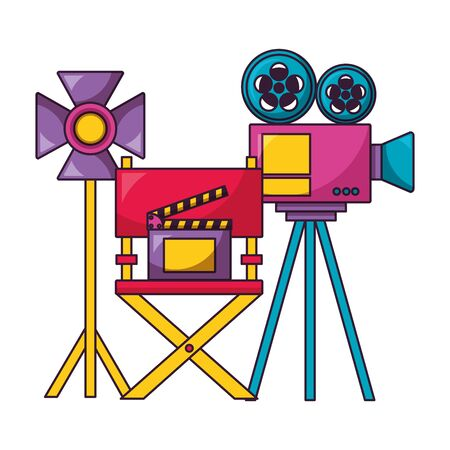 projector light chair clapboard cinema movie vector illustration Ilustração