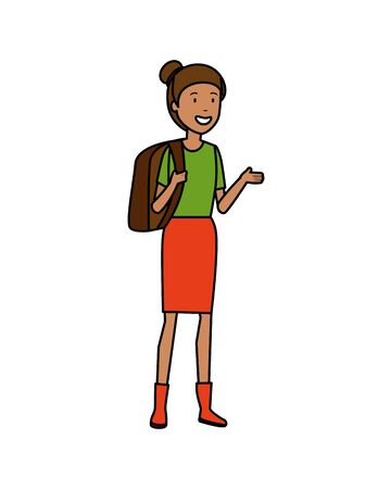 tourist woman with bag character vector illustration design Stock Illustratie