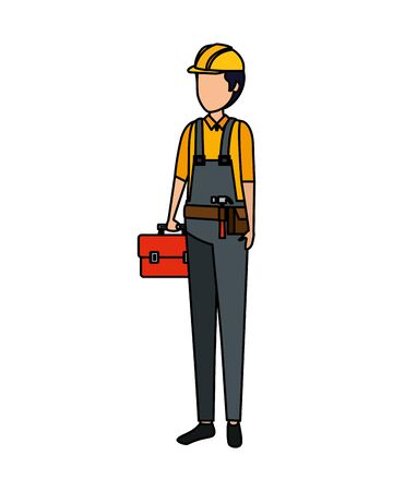 builder worker with helmet vector illustration design Vetores