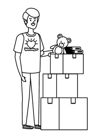 young man volunteer with donations boxes vector illustration design Ilustração