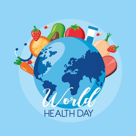 fruits vegetables world health day vector illustration