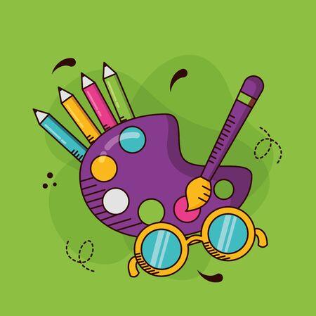 paletter color brush eyeglasses school teachers day vector illustration Illustration