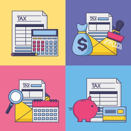 tax payment saving account finance set vector illustration Illustration