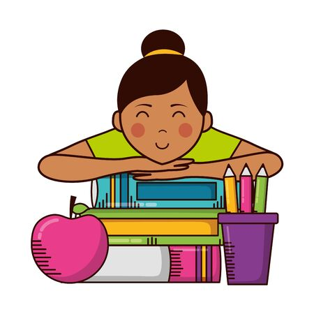 girl books apple pencils teachers day vector illustration