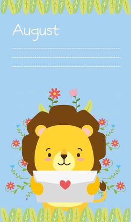 cute lion animal calendar cartoon vector illustration