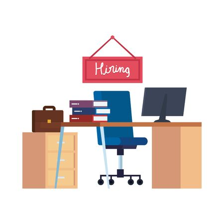office workplace with hiring label hanging vector illustration design