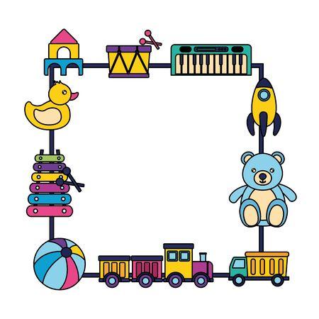 kids toys badge bear ball duck drum rocket piano train vector illustration Ilustração