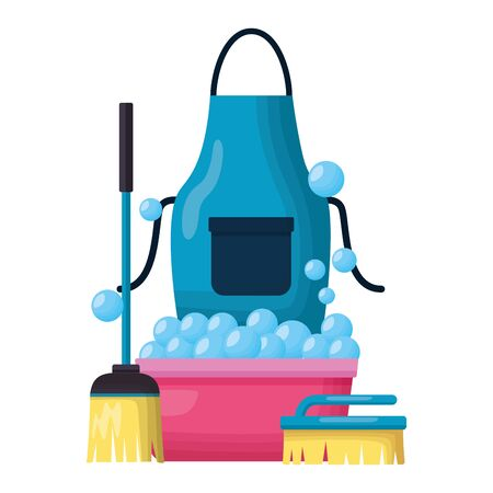 washing bucket apron broom brush spring cleaning tools vector illustration