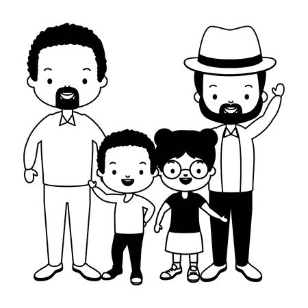 parents and kids celebration fathers day vector illustration design Ilustrace