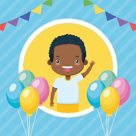 happy boy balloons garland kids zone  vector illustration Illustration