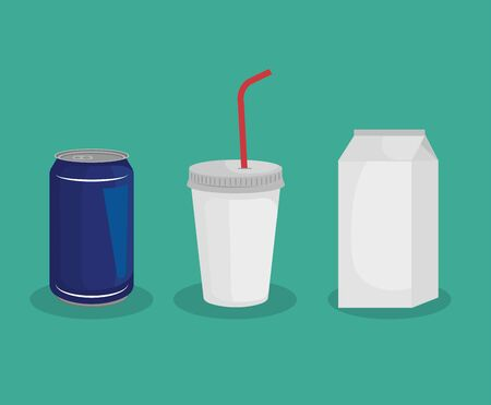 set of can with plastic cup and milk box vector illustration Illustration