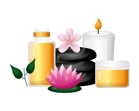 cosmetics products stones candle flower spa treatment vector illustration  イラスト・ベクター素材