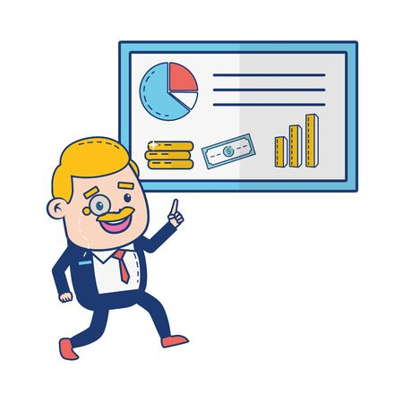 businessman report business online banking vector illustration 版權商用圖片 - 129386559