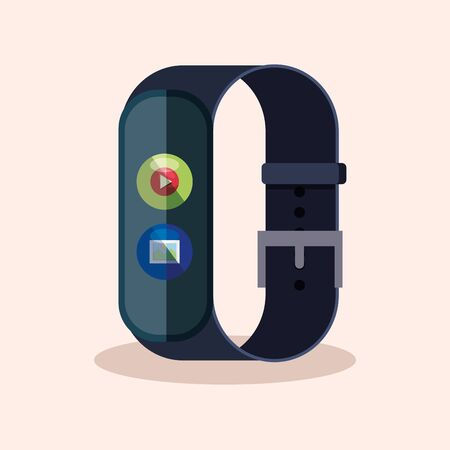 smartwatch technology with vedeo and picture app vector illustration Banque d'images - 129390440