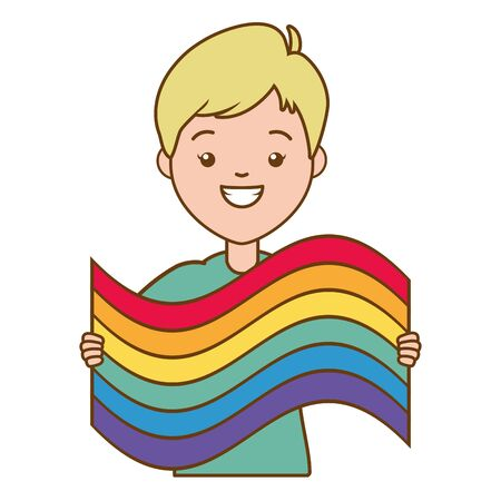 happy woman with rainbow flag lgbt pride vector illustration