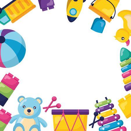kids toys bear boat ball truck xylophone blocks vector illustration