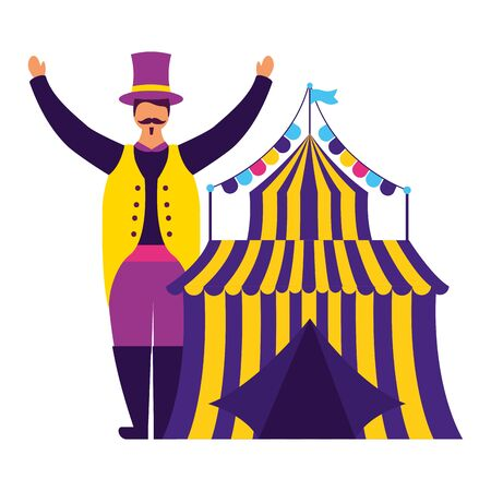 character circus carnival tent entertainment vector illustration design 스톡 콘텐츠 - 129390563
