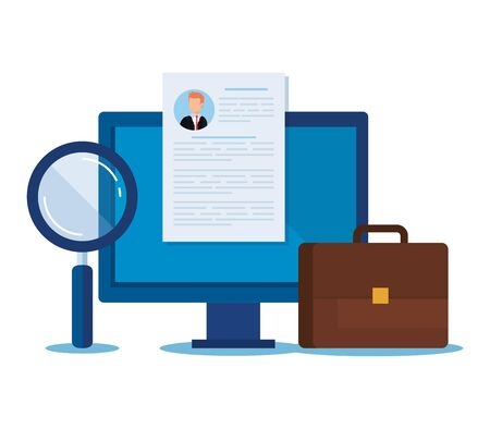 computer with curriculum vitae and magnifying glass vector illustration Ilustrace