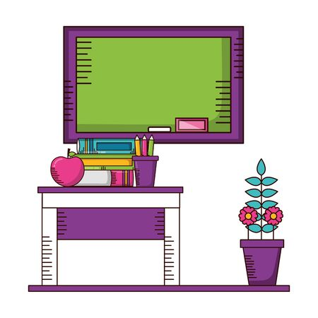 desk apple books potted flower teachers day card vector illustration  イラスト・ベクター素材