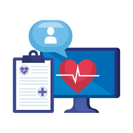 desktop with heart cardio and order telemedicine vector illustration design