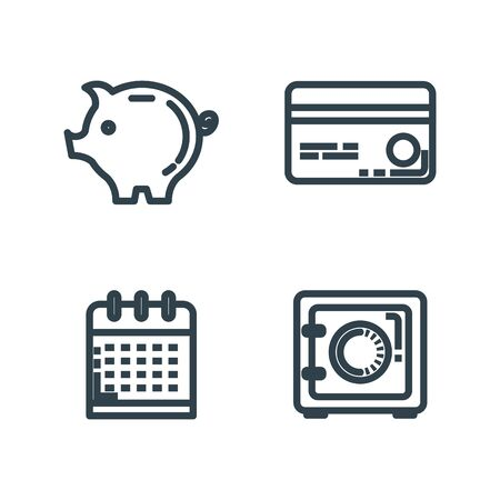 set credit card with strong box and pig vector illustration Vectores