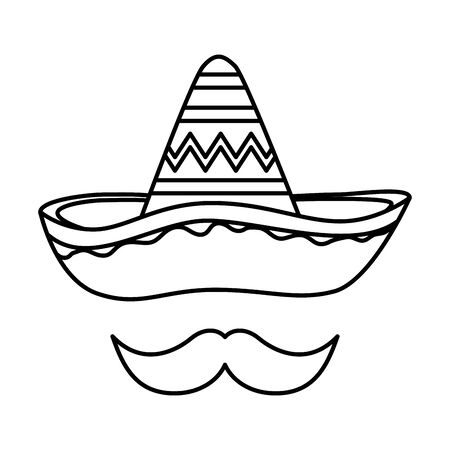 mexican hat mariachi with mustache vector illustration design Vectores