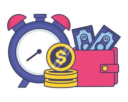 clock wallet money tax time payment vector illustration Standard-Bild - 129435309