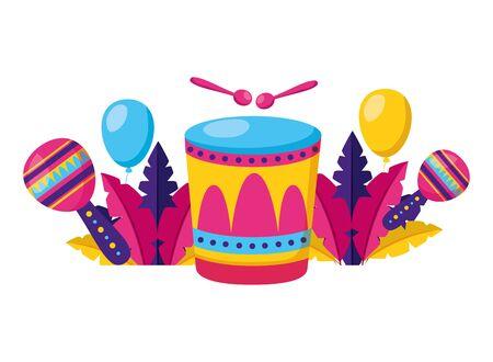 carnival drum maracas feathers balloons vector illustration Çizim