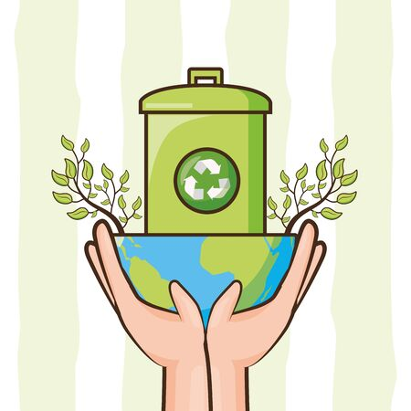 planet recycle trash can ecology earth day vector illustration
