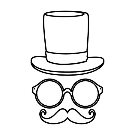 eyeglasses with tophat hipster style vector illustration design Stock Vector - 129435593