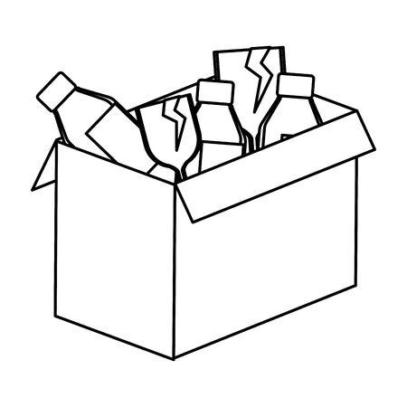 box carton with glass bottles vector illustration design