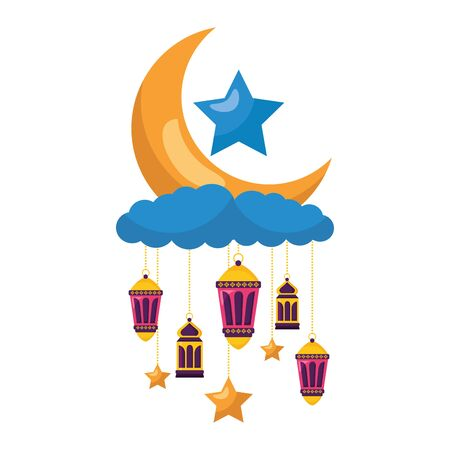 hanging lanterns moon stars decoration on white background vector illustration