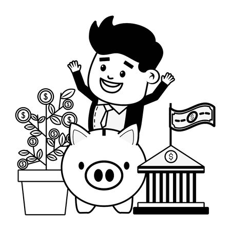 businessman bank piggy plant coins online payment vector illustration  イラスト・ベクター素材