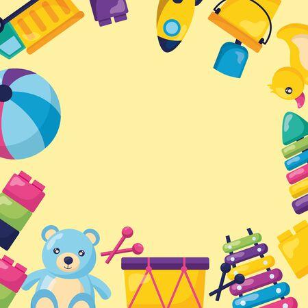kids toys bear boat ball truck  xylophone blocks vector illustration Zdjęcie Seryjne - 129461396