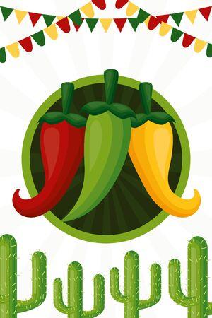 chili pepper cactus celebration garland cinco de mayo vector illustration